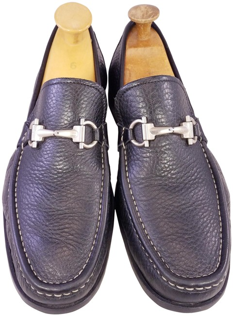 Item - Black Man Lofers Slip Ons Horsebit Leather Formal Shoes Size US 8.5 Extra Wide (Ww, Ee)
