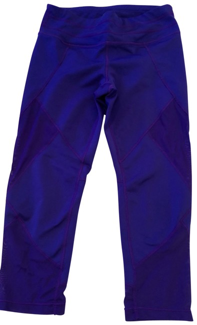 Item - Electric Purple Mid-rise Cropped Mesh Cutout Leggings Activewear Bottoms Size 4 (S)