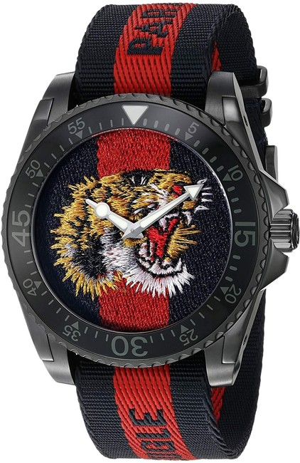 Item - Black Stainless Striped Nylon Strap Embroidered Tiger Mens Ya136215 Watch