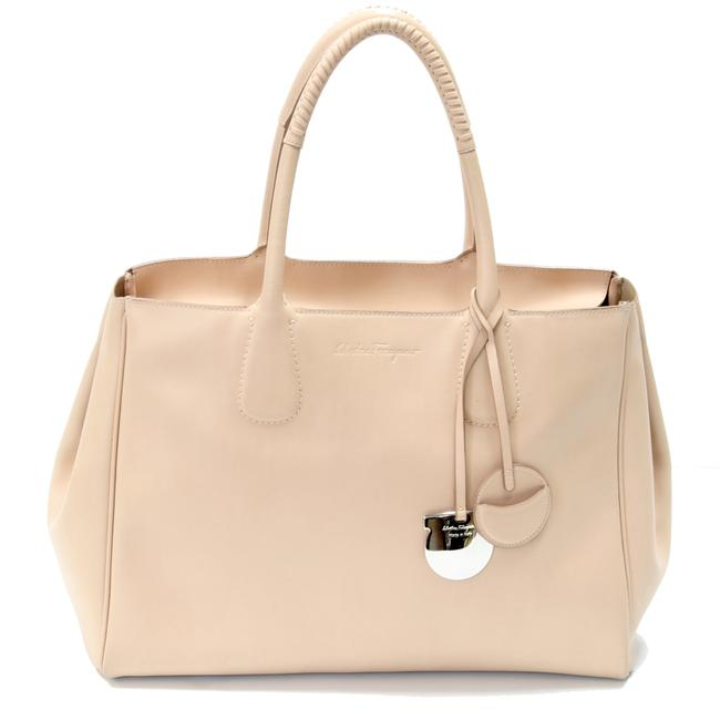 Item - Signature Soft Embroidered Handle Gm Silver Hardware Beige Leather Tote