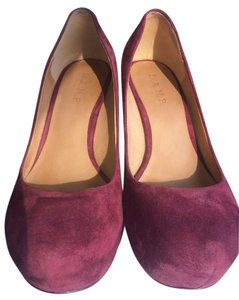 L.A.M.B. Purple Suede Wedges