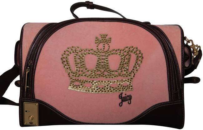 Item - Velour/Leather Pet Carrier Pink/Dark Brown Velour/Leather Weekend/Travel Bag