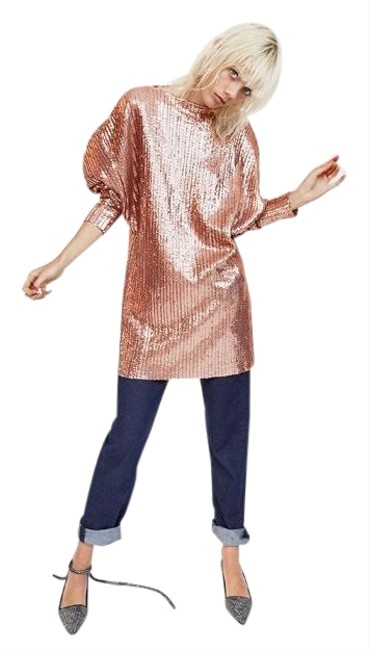 Item - Peach Pink New Nwot Trafaluc Sequin Small Mid-length Short Casual Dress Size 6 (S)