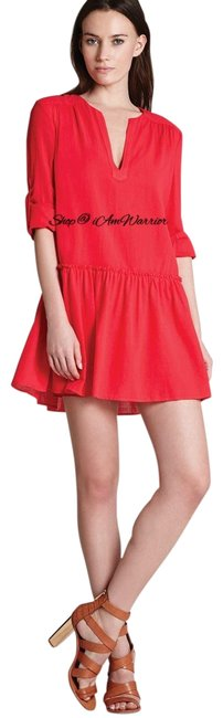 Item - Cherry Lipstick Red Roll Tab Sleeve Peasant Short Casual Dress Size 4 (S)