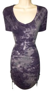 Feel the Piece short dress Blue Scrunched Acid Wash Navy Ribbed on Tradesy