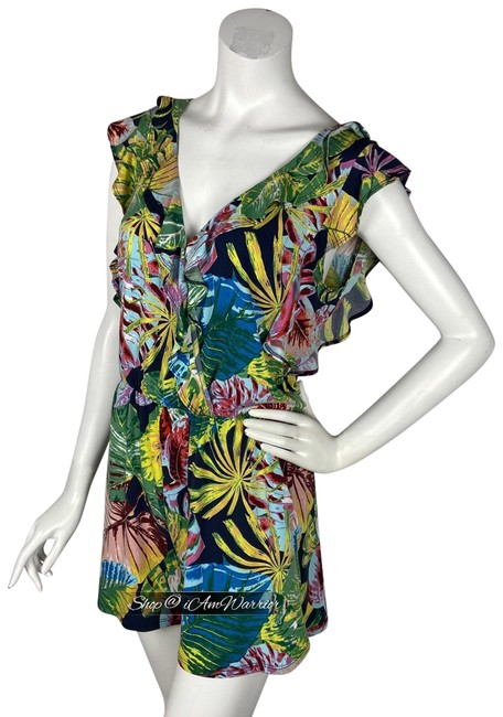 Item - Black Green Multi Jungle Palm Leaf Print Ruffle Romper/Jumpsuit