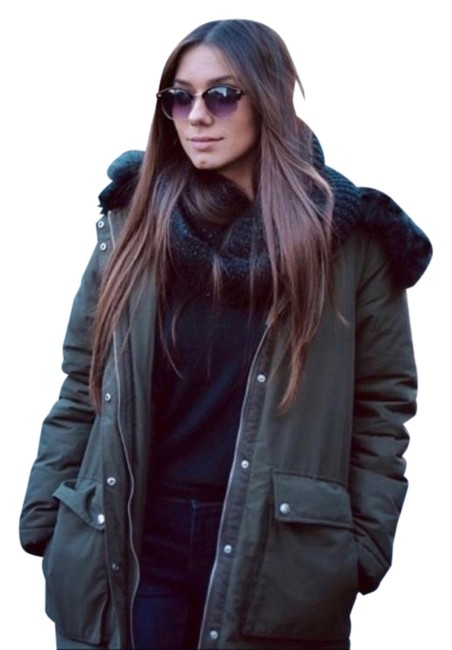 Item - Army Green Olive Faux Fur Lined Black Jacket Size 12 (L)