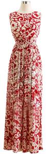 Red White Maxi Dress by Floral Maxi