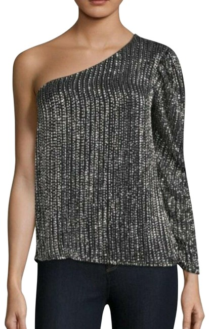 Item - Patricia One Shoulder Sequin Black/Silver Top