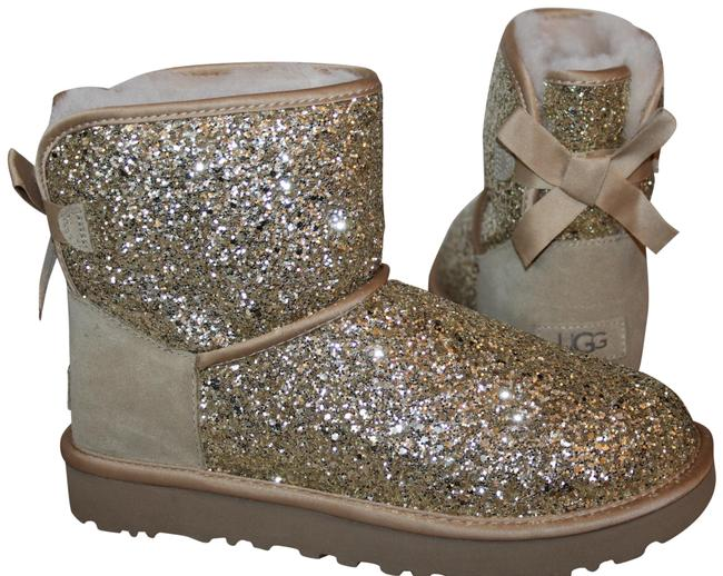 Item - Gold Bailey Bow Mini Sparkle Boots/Booties Size US 6 Regular (M, B)