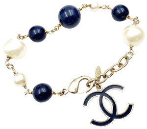 Chanel Chanel Gold Navy CC Faux Pearl Navy Bead Bracelet