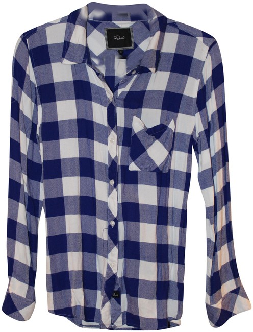 Item - Royal Blue Hunter Plaid Flannel Button-down Top Size 4 (S)