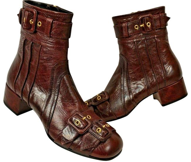 Item - Red 1t129i Dark Leather Belted Buckle Short Ankle Zip Italy Boots/Booties Size EU 36.5 (Approx. US 6.5) Regular (M, B)