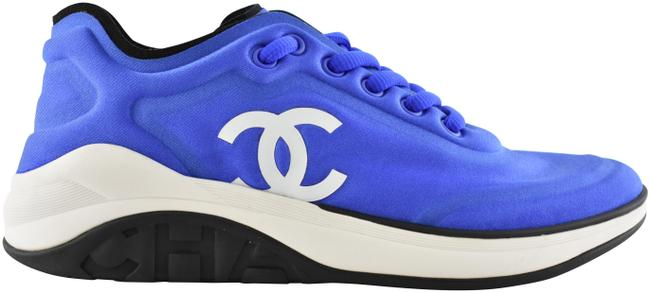 Item - Blue 19p Lycra White Black Cc Logo Lace Up Tie Low Top Trainer Sneakers Size EU 39 (Approx. US 9) Regular (M, B)