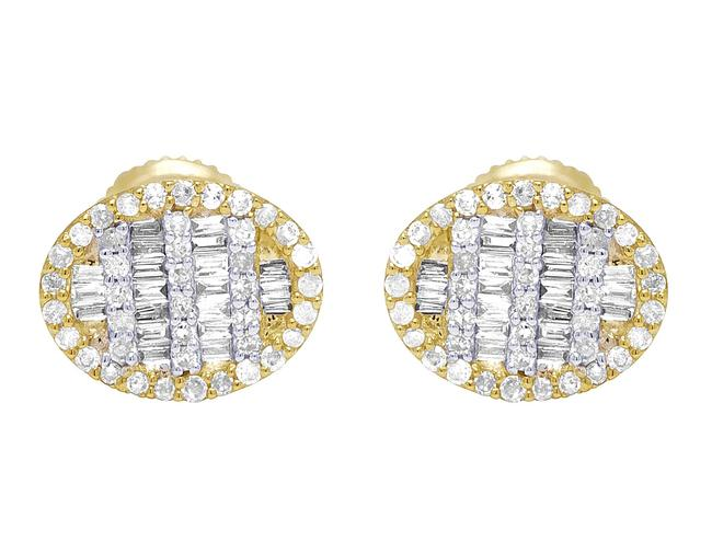 Item - 10k Yellow Gold Baguette Diamond Oval 11mm .5 Ct Earrings