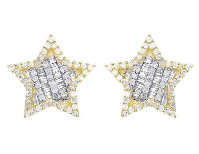 Item - 10k Yellow Gold Baguette Diamond Star 13mm .75 Ct Earrings
