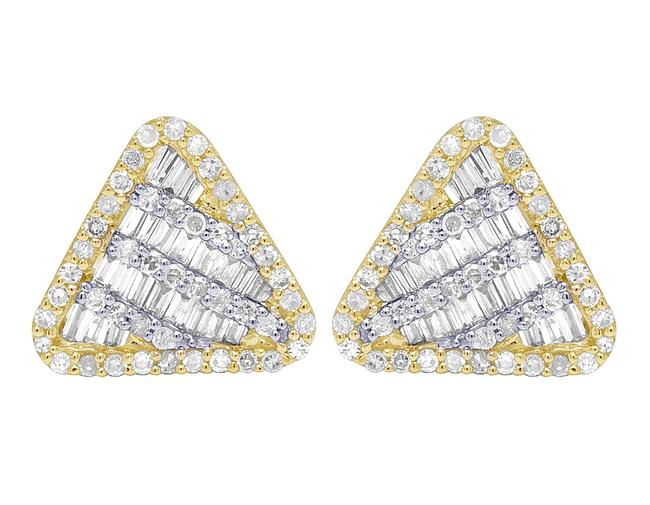 Item - 10k Yellow Gold Baguette Diamond Hexagon 11mm .5 Ct Earrings