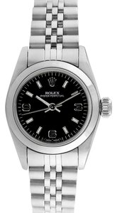 Rolex Stainless Steel Oyster Perpetual Black Dial Watch