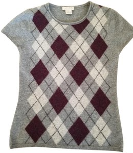 Kenar Argyle Design Cashmere Maroon Short Sleeve Sweater