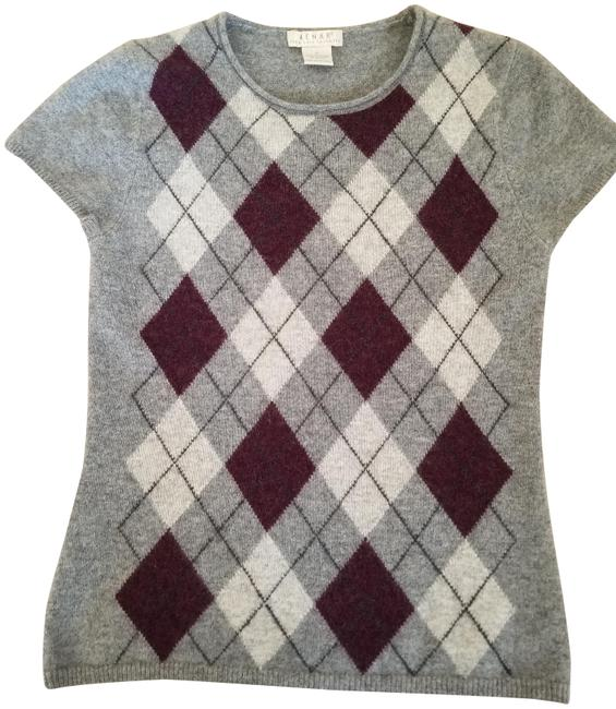 Item - Patterned 2-ply Cashmere Short Sleeve Gray Multi Color Sweater