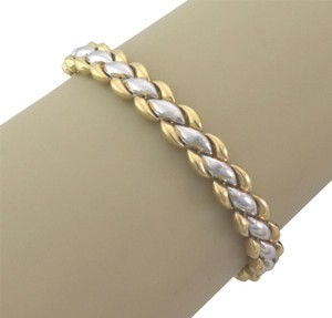 Chimento Reversible Braided Puff Link 18k Two Tone Gold Bracelet
