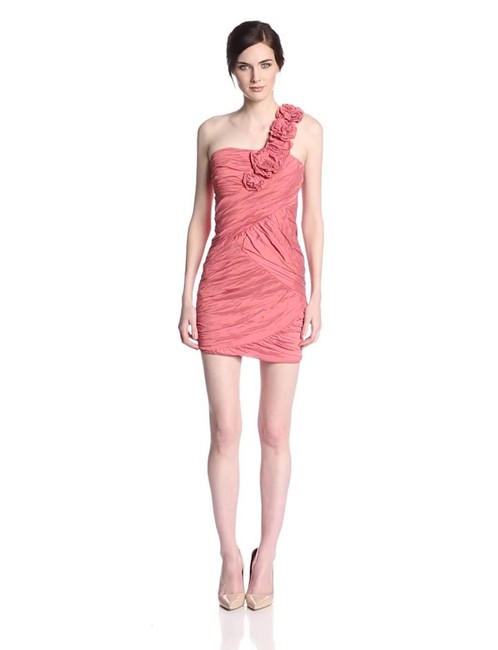 Item - Pink Peach Bcbg Sexy Feminine Bridesmaid/Mob Dress Size 4 (S)