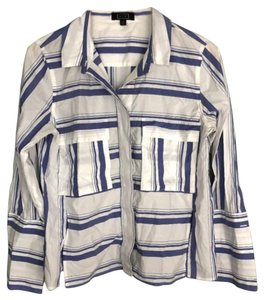 AYR Button Down Shirt Blue and White