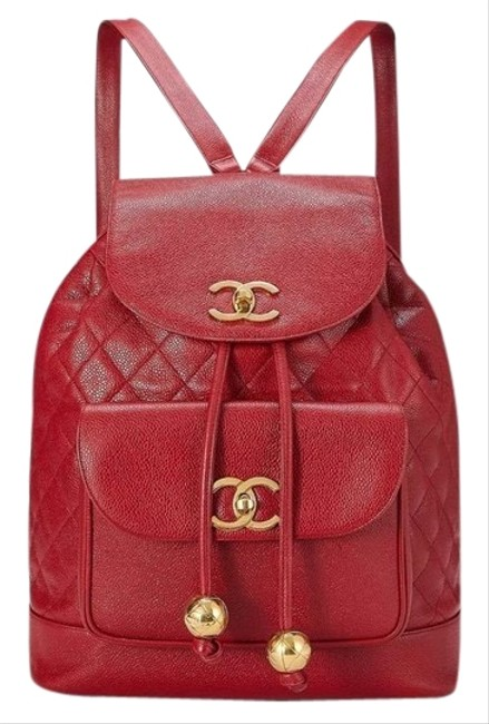 Item - Rare Maxi Jumbo Quilted Vintage 90s Red Caviar Leather Backpack