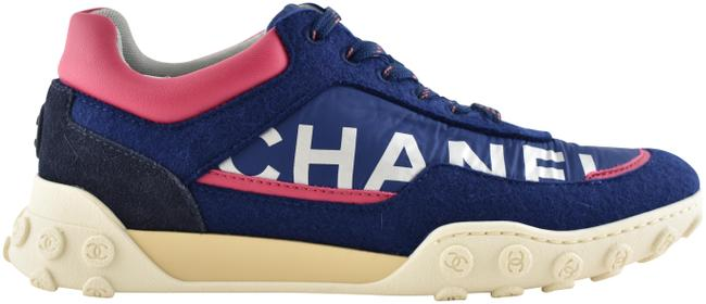Item - Blue 18k Navy Pink Cc Silver Logo Lace Up Tie Low Top Trainer Sneakers Size EU 35 (Approx. US 5) Regular (M, B)