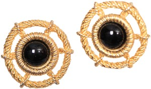 Christian Dior Vintage Goldtone Rope Onyx Clip-on Earrings