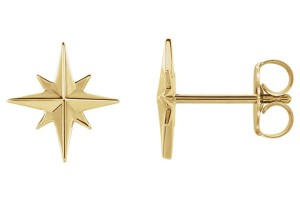 Apples of Gold 14K GOLD NORTH STAR STUD EARRINGS