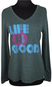 Life is Good V-neck Longsleeve Cotton Polyester T Shirt Multicolor