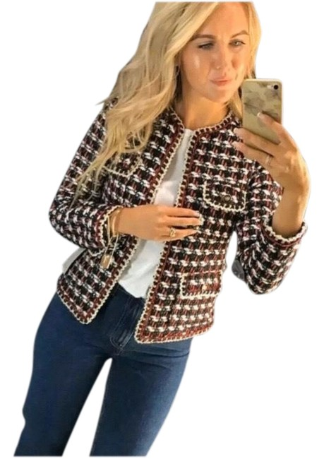 Item - Red Black White Blue Tweed Textured Weave Blazer Size 12 (L)