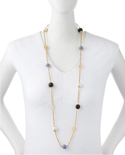 Tory Burch Multicolor T Long Gold Beads Blue White Pearl Studs Necklace Tory Burch Multicolor T Long Gold Beads Blue White Pearl Studs Necklace Image 1