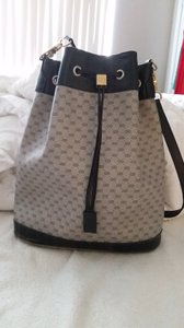 Gucci Vintage Gg Bucket Pvc Leather Monogram Drawstring Shoulder Bag