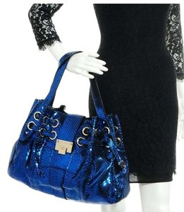 Jimmy Choo Metallic Python Snakeskin Limited Edition Gold Hardware Satchel in Metallic Blue