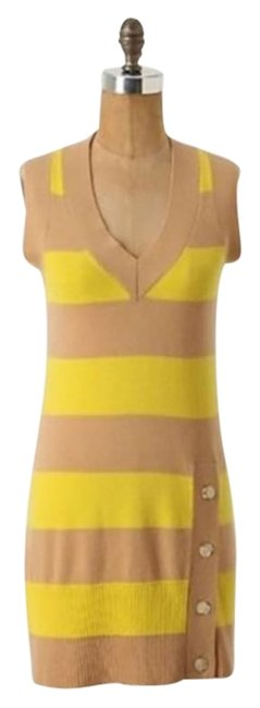 Item - Yellow Tan Saturday Sunday Striated Balance Cashmere Mid-length Short Casual Dress Size 4 (S)