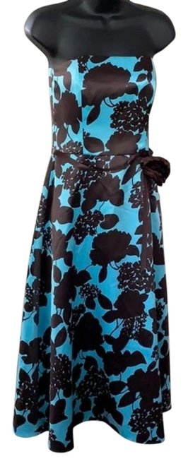 Item - Brown Blue Strapless Short Casual Dress Size 6 (S)