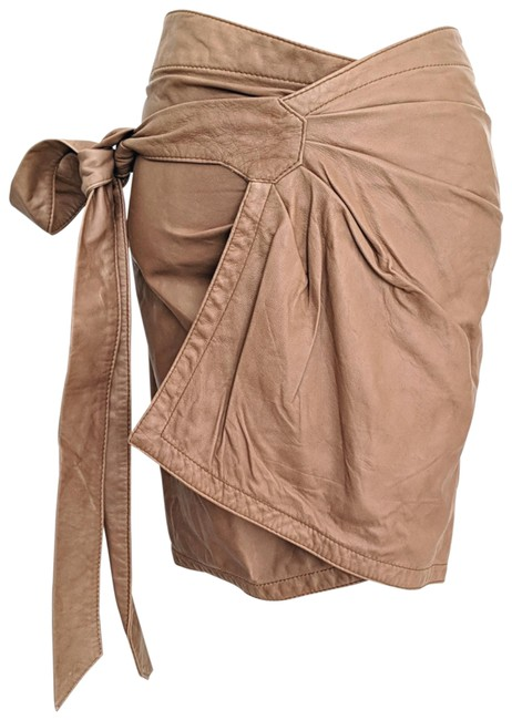 Item - Camel Brown Leather Asymmetric Mini Wrap Skirt Size 6 (S, 28)