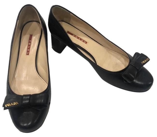 Item - Black Bow Heel Pumps Size US 8.5 Wide (C, D)