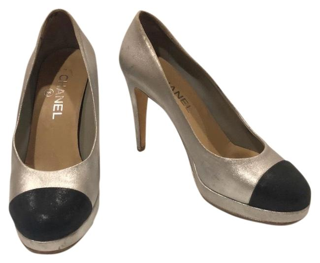 Item - Silver & Black Classic Cc Cap Toe Platforms Size US 8 Regular (M, B)