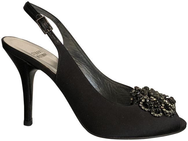 Item - Black W Satin W/ Rhinestone Bow Peep Toe Slingback Heels Formal Shoes Size US 7 Regular (M, B)