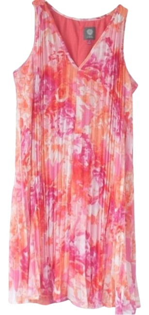 Item - Pink Pleated Style Mid-length Short Casual Dress Size 2 (XS)