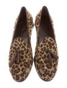 Trademark Loafer Needlepoint Leopard w/leather Flats