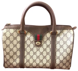 Gucci Satchel in Brown Gg logo print coated canvas