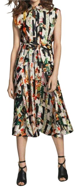 Item - Multicolor Sacha Floral Print Silk Belted Sleeveless Us Uk 8 Mid-length Casual Maxi Dress Size 6 (S)