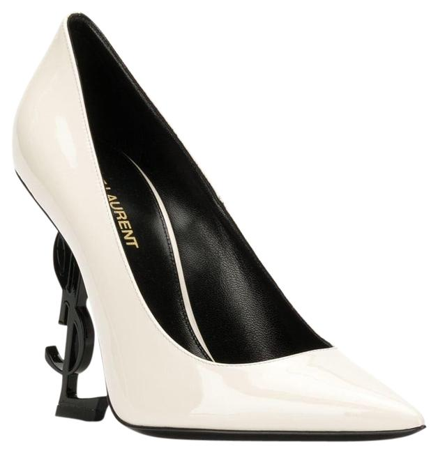 Item - White Ysl Logo Opyum Opium 110 Neutro Black Patent Stiletto Heel Pumps Size EU 37.5 (Approx. US 7.5) Regular (M, B)