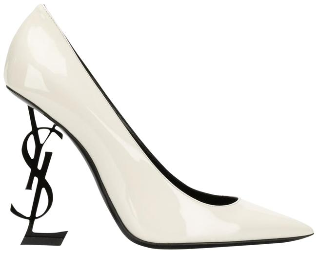 Item - White Ysl Logo Opyum Opium 110 Neutro Black Patent Stiletto Heel Pumps Size EU 38.5 (Approx. US 8.5) Regular (M, B)