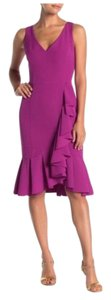 Marina V-neck Midi Ruffle Hem Sheath Dress
