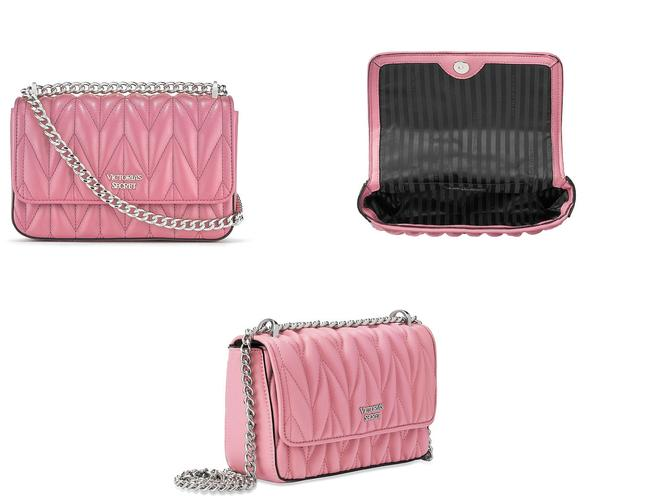 Item - Shoulder New Chevron Quilted Chain Strap Two Way Pink Faux Leather Cross Body Bag